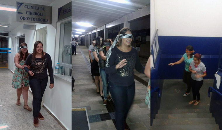 Estudantes participam de atividades com olhos vendados