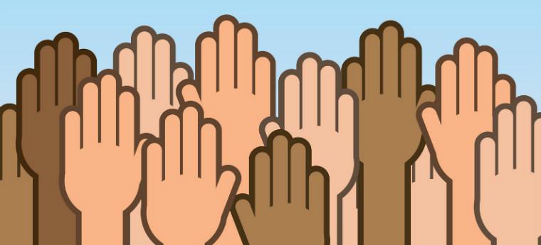 Mãos de indivíduos negros, brancos e pardos em ilustração