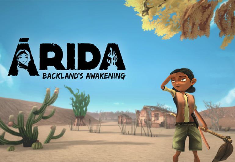 Personagem olhando no meio do jogo ÁRIDA: Backland's Awakening