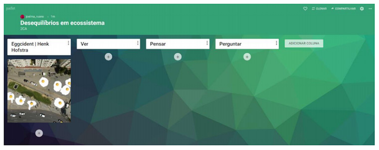 Tela do aplicativo Padlet com foto da instalação artística Eggcident