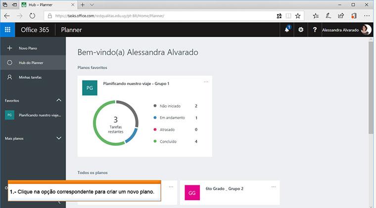 Tela do Microsoft Planner com tarefas a serem cumpridas