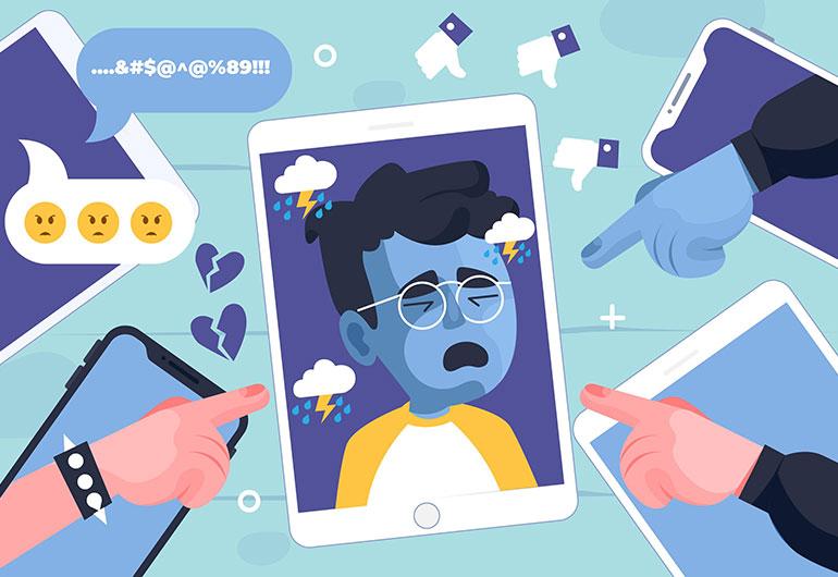 Ilustração do post Com crianças mais tempo online na pandemia, famílias e escolas precisam ficar atentas ao cyberbullying